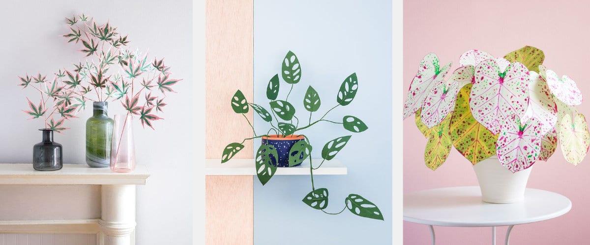 Glores de papel en jarrón o tiesto para decorar superficies