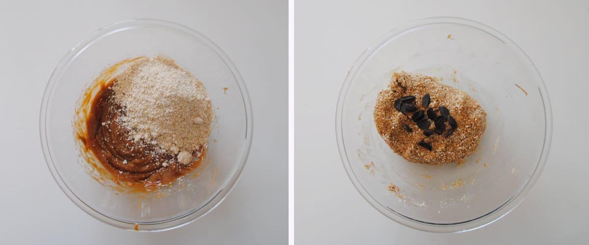 La masa de las galletas: mezcla ingredientes secos y húmedos