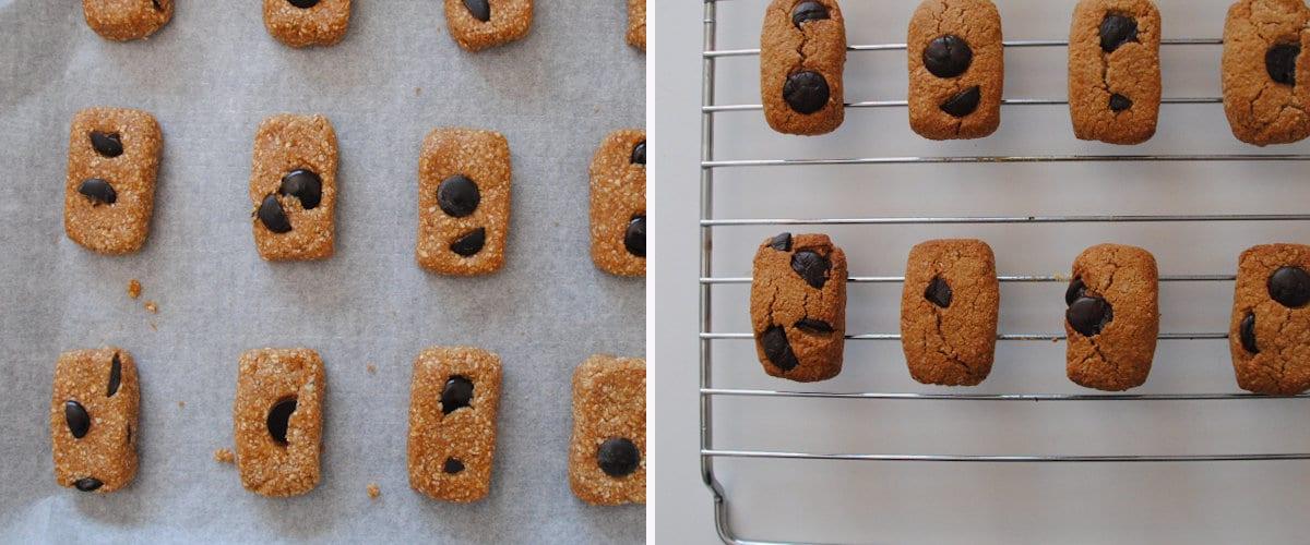 Da forma y hornea las galletas de almendra con chips de chocolate negro