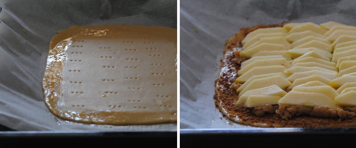 Tarta hojaldrada de compota y manzana