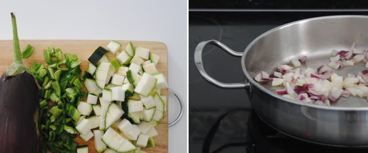 picar verduras y sofreír ajo y cebolla