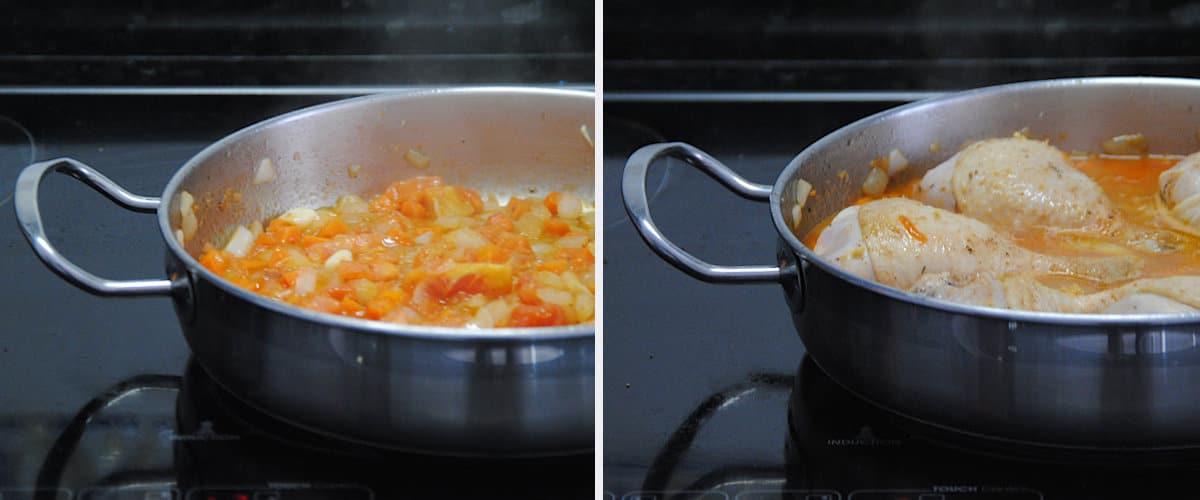 Muslos de pollo en salsa jardinera