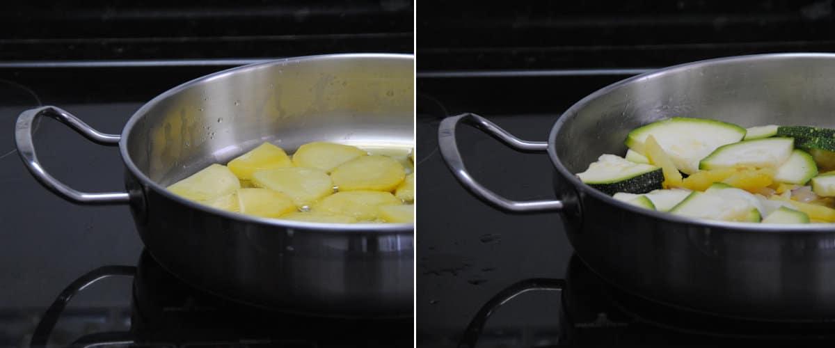 Revuelto de patatas, calabacín y gambas