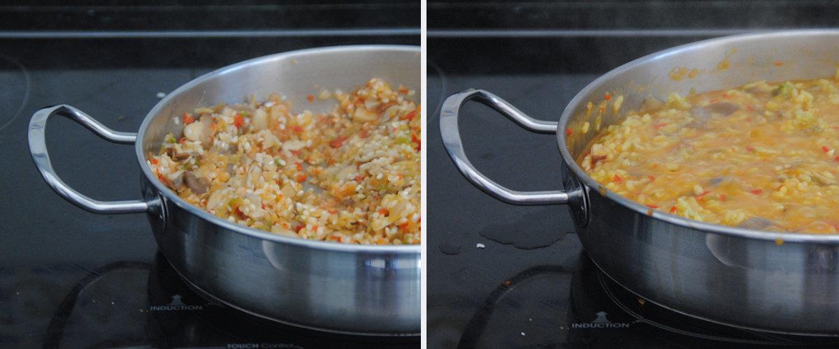 Arroz caldoso con verduras y setas