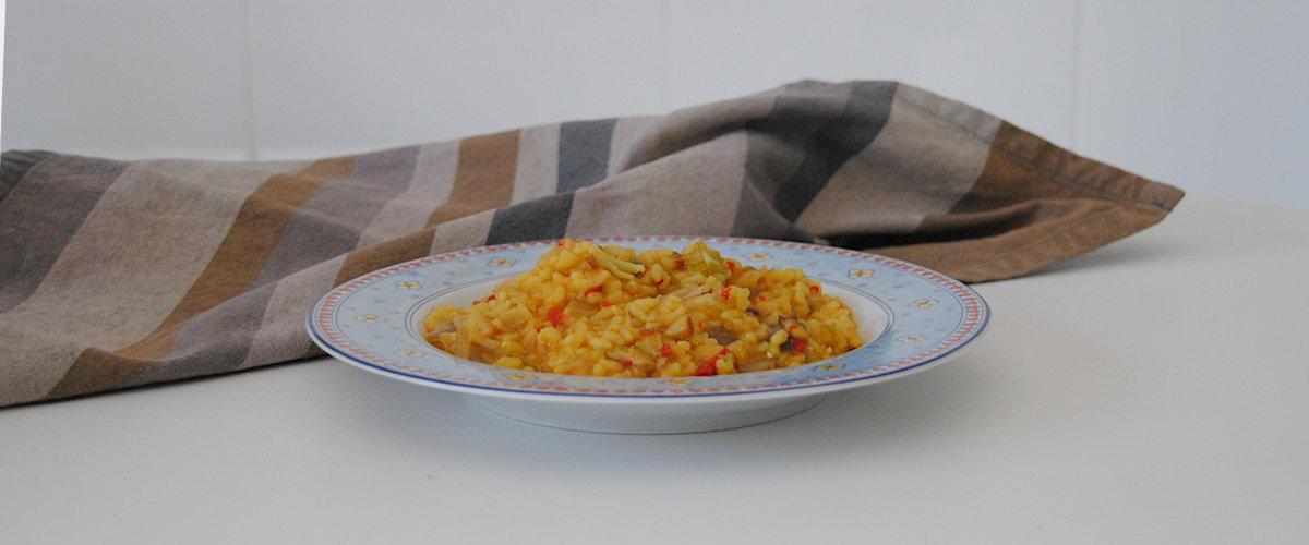 Arroz caldoso con verduras y setas de otoño