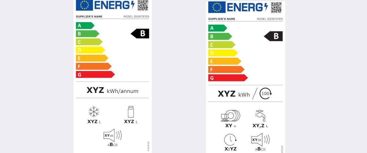 Etiquetas energéticas de frigorífico y lavavajillas