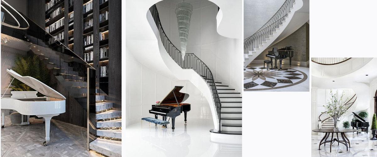 Piano junto a las escaleras