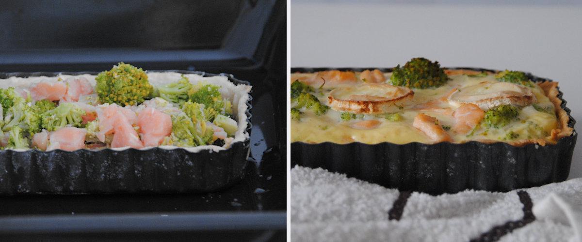 Quiche de salmón, brócoli y queso de cabra